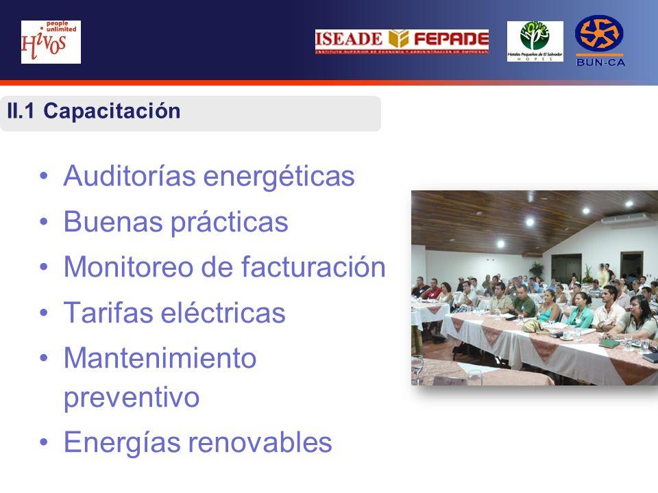 II.1 Capacitación Auditorías energéticas Buenas prácticas Monitoreo de facturación Tarifas eléctricas Mantenimiento preventivo Energías renovables