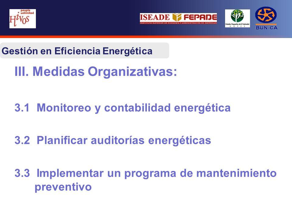 III. Medidas Organizativas: 3.1 Monitoreo y contabilidad energética 3.2 Planificar auditorías energéticas 3.3 Implementar un programa de mantenimiento
