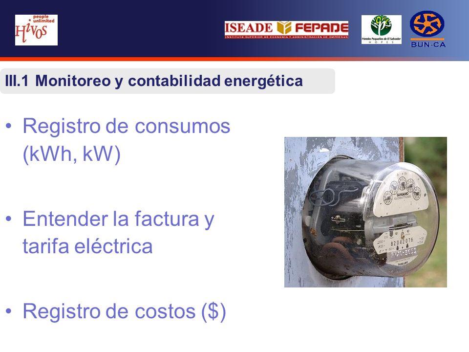 III.1 Monitoreo y contabilidad energética Registro de consumos (kWh, kW) Entender la factura y tarifa eléctrica Registro de costos ($)