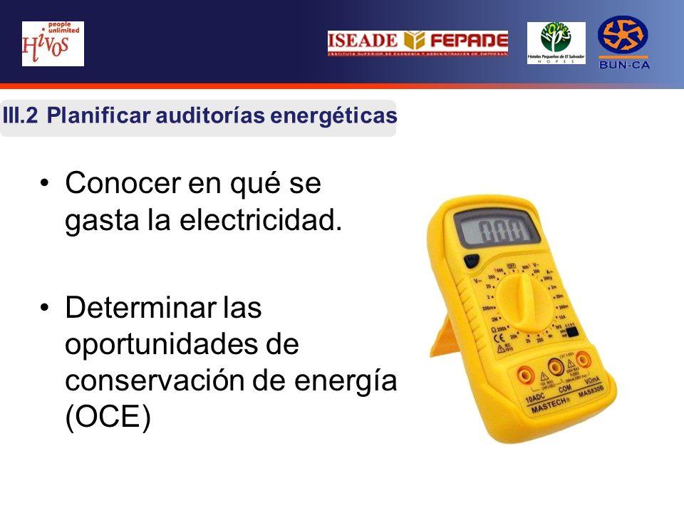 III.2 Planificar auditorías energéticas Conocer en qué se gasta la electricidad. Determinar las oportunidades de conservación de energía (OCE)