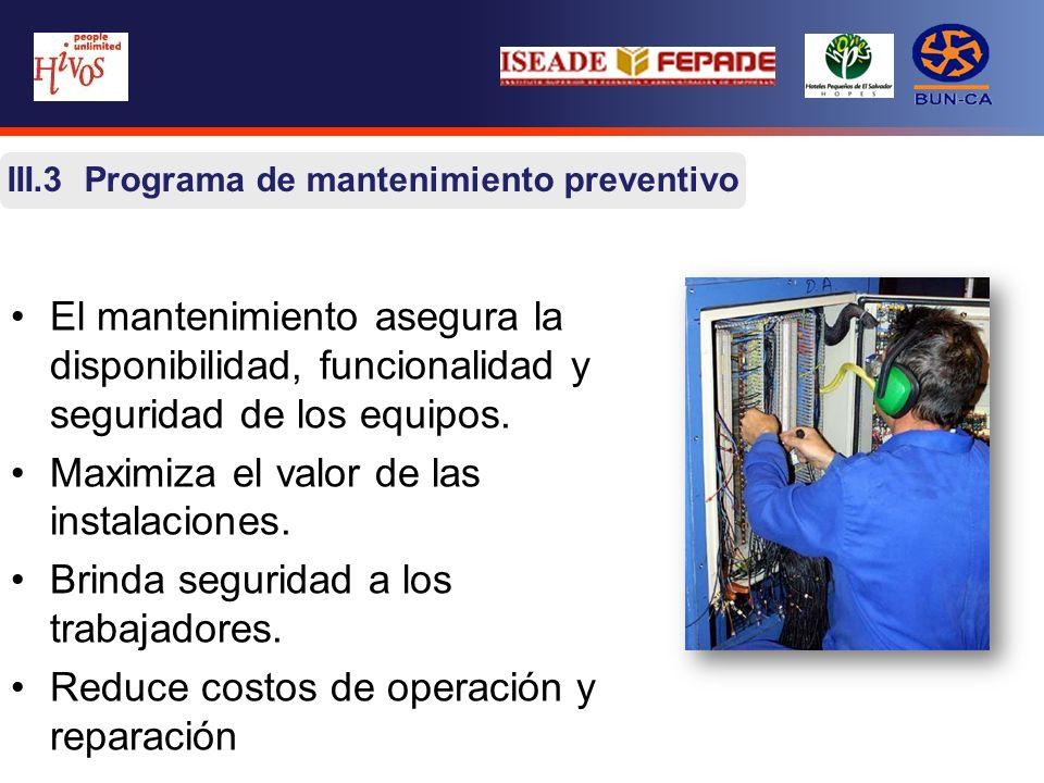 III.3 Programa de mantenimiento preventivo El mantenimiento asegura la disponibilidad, funcionalidad y seguridad de los equipos. Maximiza el valor de