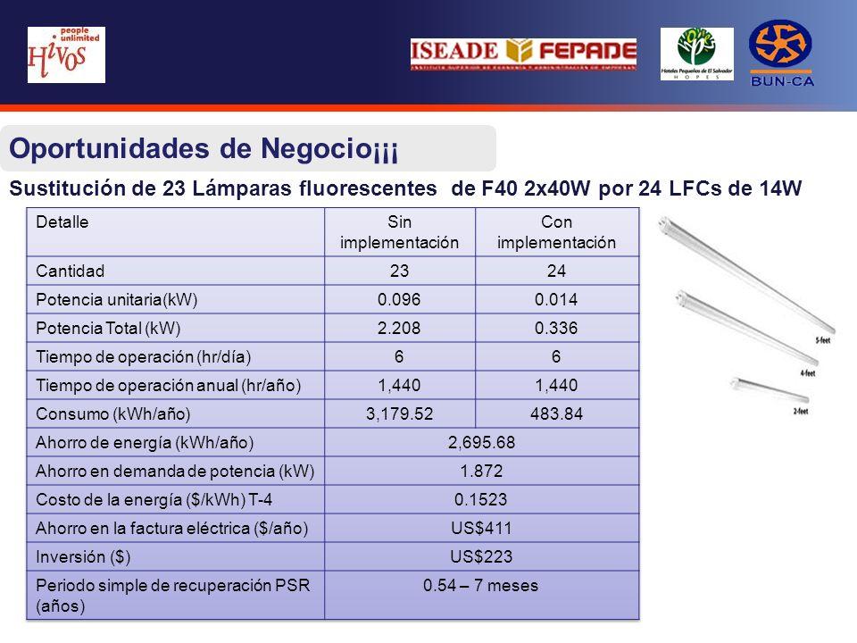 Sustitución de 23 Lámparas fluorescentes de F40 2x40W por 24 LFCs de 14W - Con un promedio de 20 días al mes Oportunidades de Negocio¡¡¡