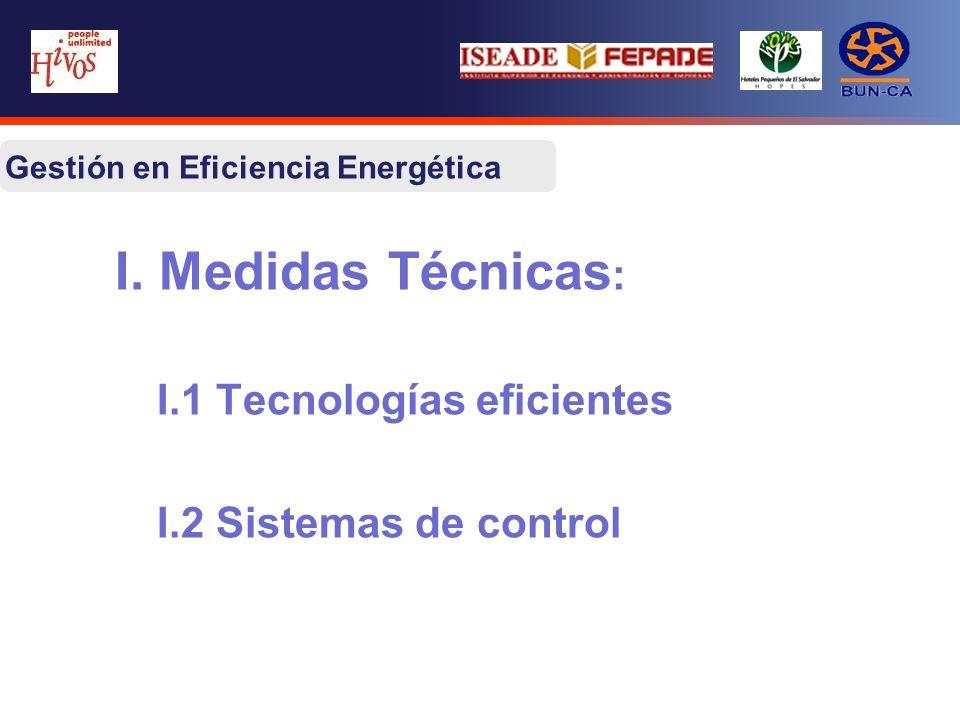I. Medidas Técnicas : I.1 Tecnologías eficientes I.2 Sistemas de control Gestión en Eficiencia Energética