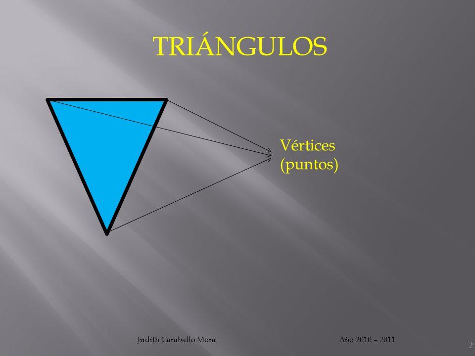 Año 2010 – 2011Judith Caraballo Mora 3 TRIÁNGULOS Lados (segmentos)