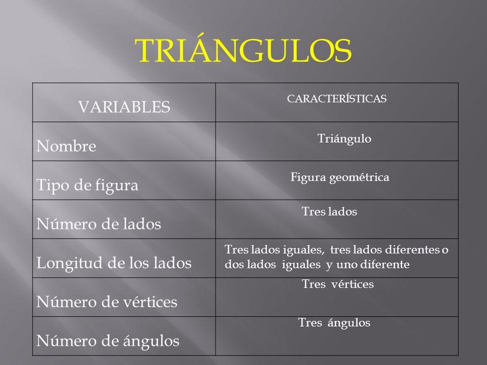 VARIABLES CARACTERÍSTICAS Nombre Tipo de figura Número de lados Longitud de los lados Número de vértices Número de ángulos TRIÁNGULOS Triángulo Figura