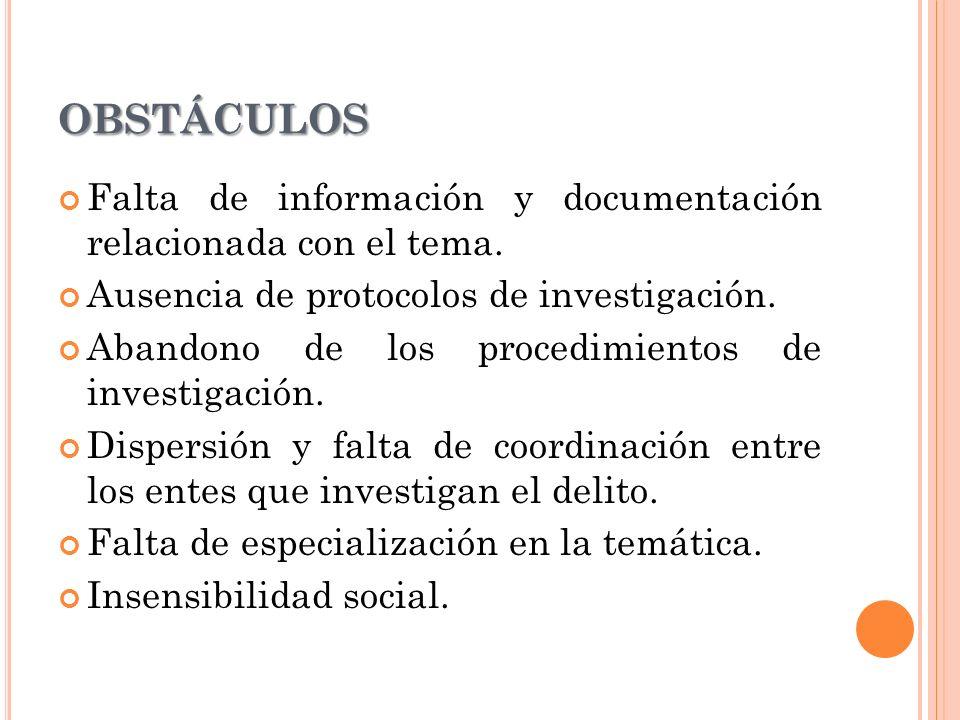 OBSTÁCULOS Falta de información y documentación relacionada con el tema.