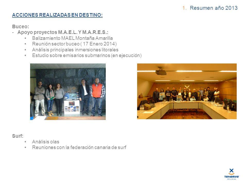 1. Resumen año 2013 ACCIONES REALIZADAS EN DESTINO: Buceo: - Apoyo proyectos M.A.E.L.