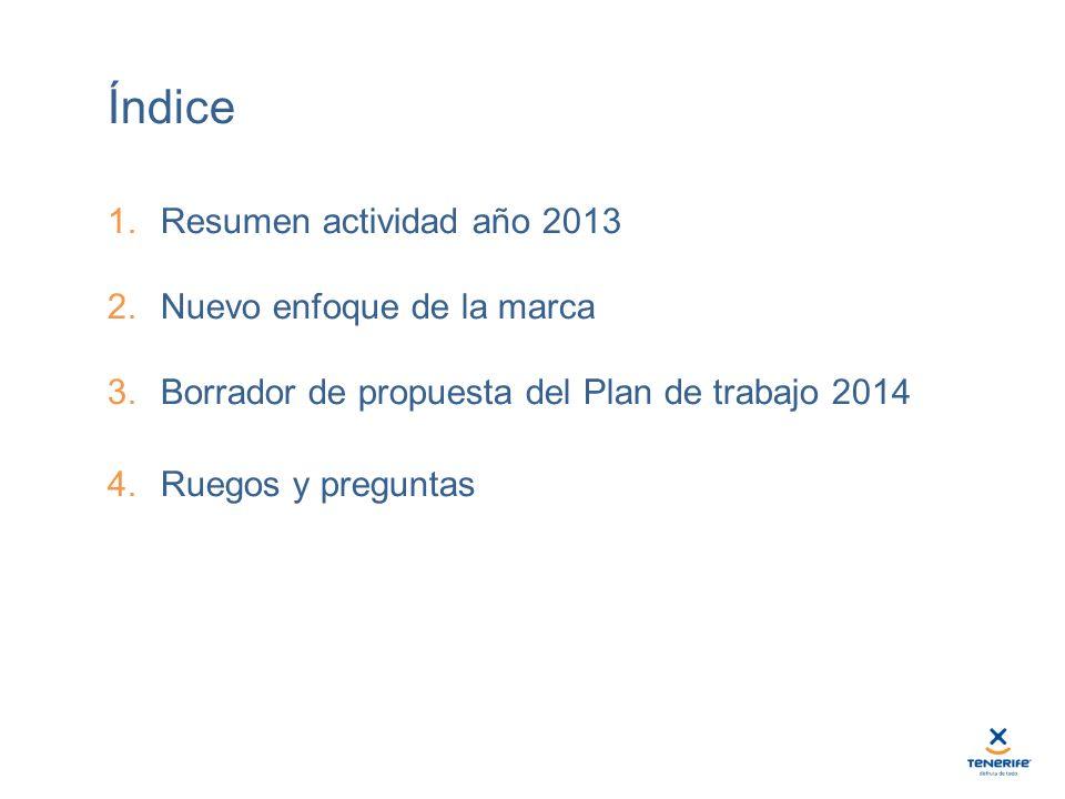 Índice 1.Resumen actividad año 2013 2.Nuevo enfoque de la marca 3.Borrador de propuesta del Plan de trabajo 2014 4.Ruegos y preguntas