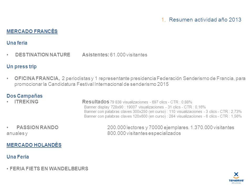 1. Resumen actividad año 2013 MERCADO FRANCÉS Una feria DESTINATION NATURE Asistentes: 61.000 visitantes Un press trip OFICINA FRANCIA, 2 periodistas
