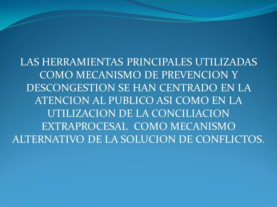 LAS HERRAMIENTAS PRINCIPALES UTILIZADAS COMO MECANISMO DE PREVENCION Y DESCONGESTION SE HAN CENTRADO EN LA ATENCION AL PUBLICO ASI COMO EN LA UTILIZAC