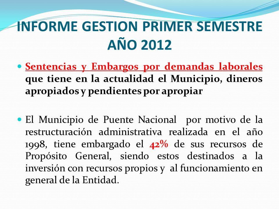 INFORME GESTION PRIMER SEMESTRE AÑO 2012 Sentencias y Embargos por demandas laborales que tiene en la actualidad el Municipio, dineros apropiados y pe