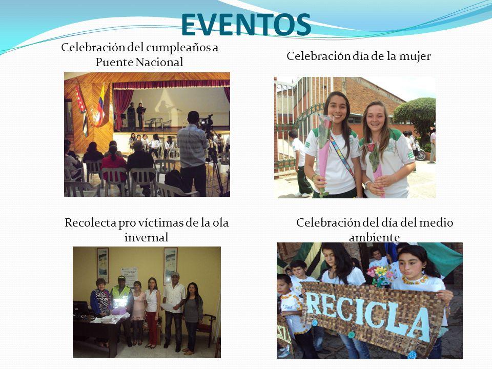 EVENTOS Celebración del cumpleaños a Puente Nacional Celebración día de la mujer Recolecta pro víctimas de la ola invernal Celebración del día del medio ambiente