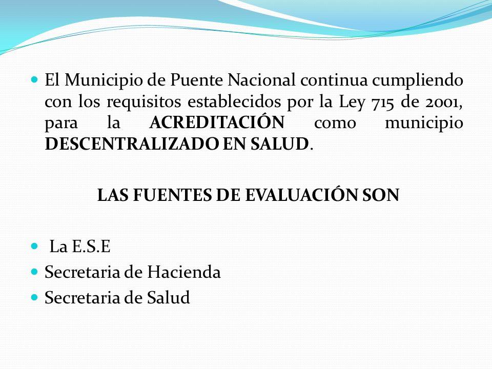 El Municipio de Puente Nacional continua cumpliendo con los requisitos establecidos por la Ley 715 de 2001, para la ACREDITACIÓN como municipio DESCEN