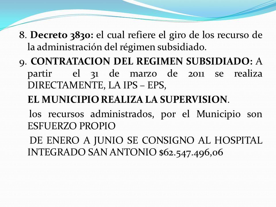 8. Decreto 3830: el cual refiere el giro de los recurso de la administración del régimen subsidiado. 9. CONTRATACION DEL REGIMEN SUBSIDIADO: A partir