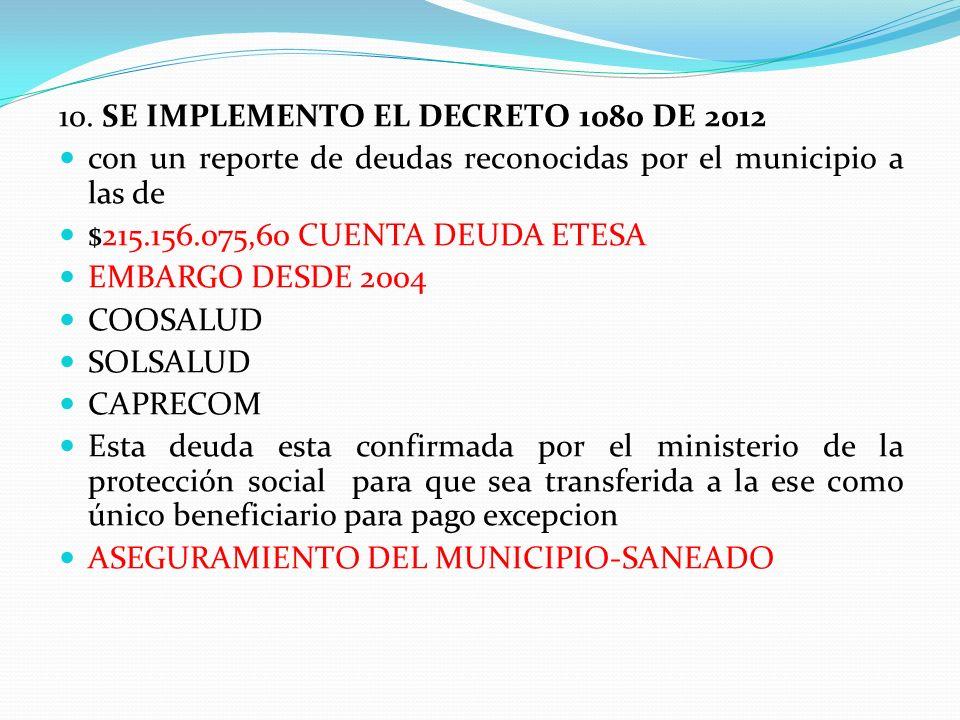 10. SE IMPLEMENTO EL DECRETO 1080 DE 2012 con un reporte de deudas reconocidas por el municipio a las de $215.156.075,60 CUENTA DEUDA ETESA EMBARGO DE