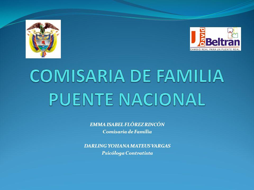 EMMA ISABEL FLÓREZ RINCÓN Comisaria de Familia DARLING YOHANA MATEUS VARGAS Psicóloga Contratista
