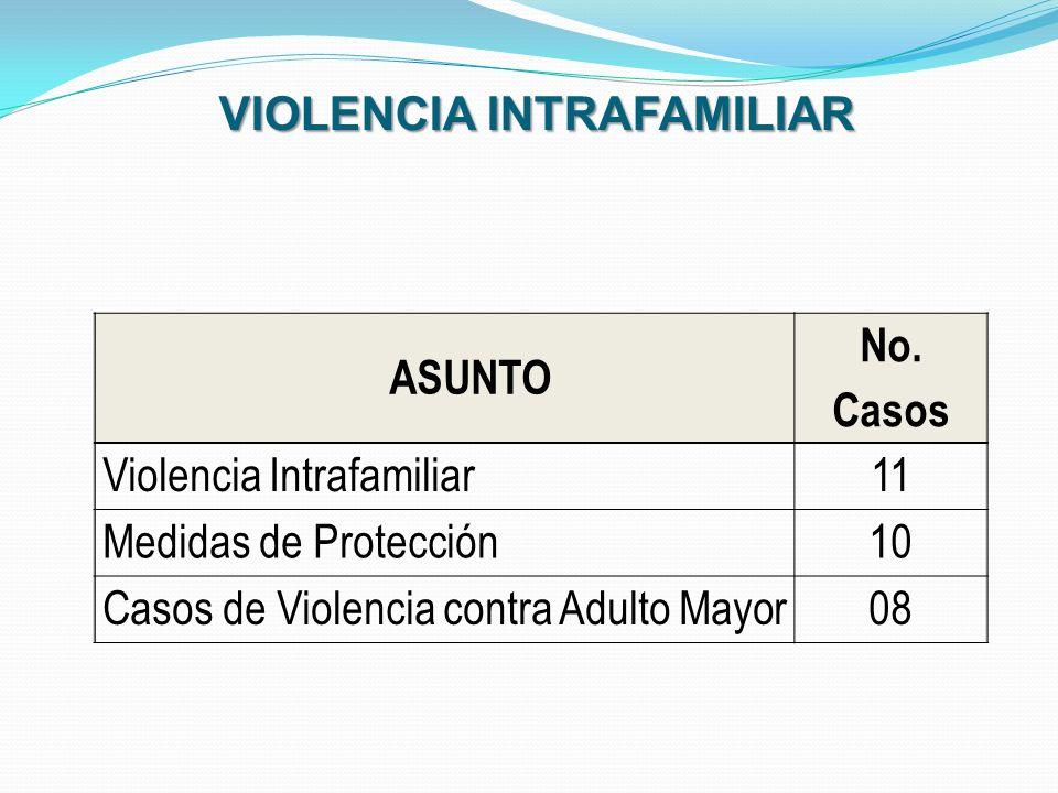 ASUNTO No. Casos Violencia Intrafamiliar11 Medidas de Protección10 Casos de Violencia contra Adulto Mayor08 VIOLENCIA INTRAFAMILIAR