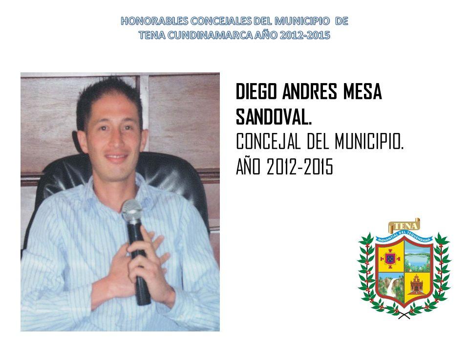 DIEGO ANDRES MESA SANDOVAL. CONCEJAL DEL MUNICIPIO. AÑO 2012-2015