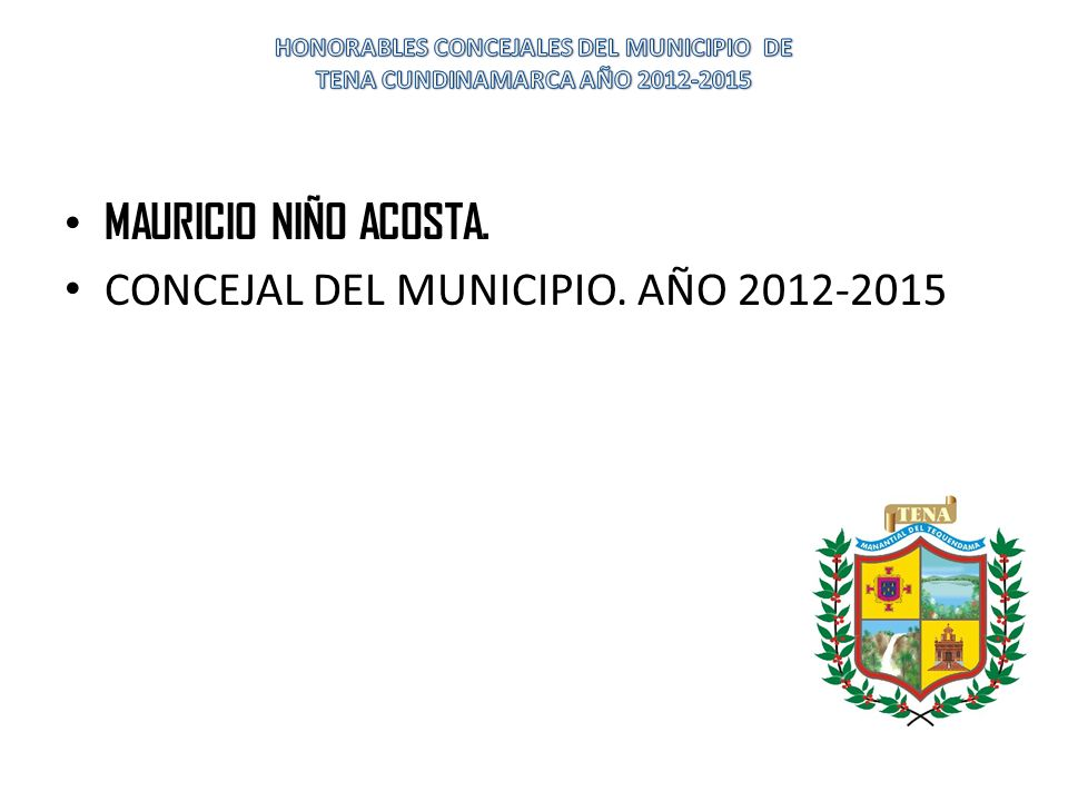 MAURICIO NIÑO ACOSTA. CONCEJAL DEL MUNICIPIO. AÑO 2012-2015