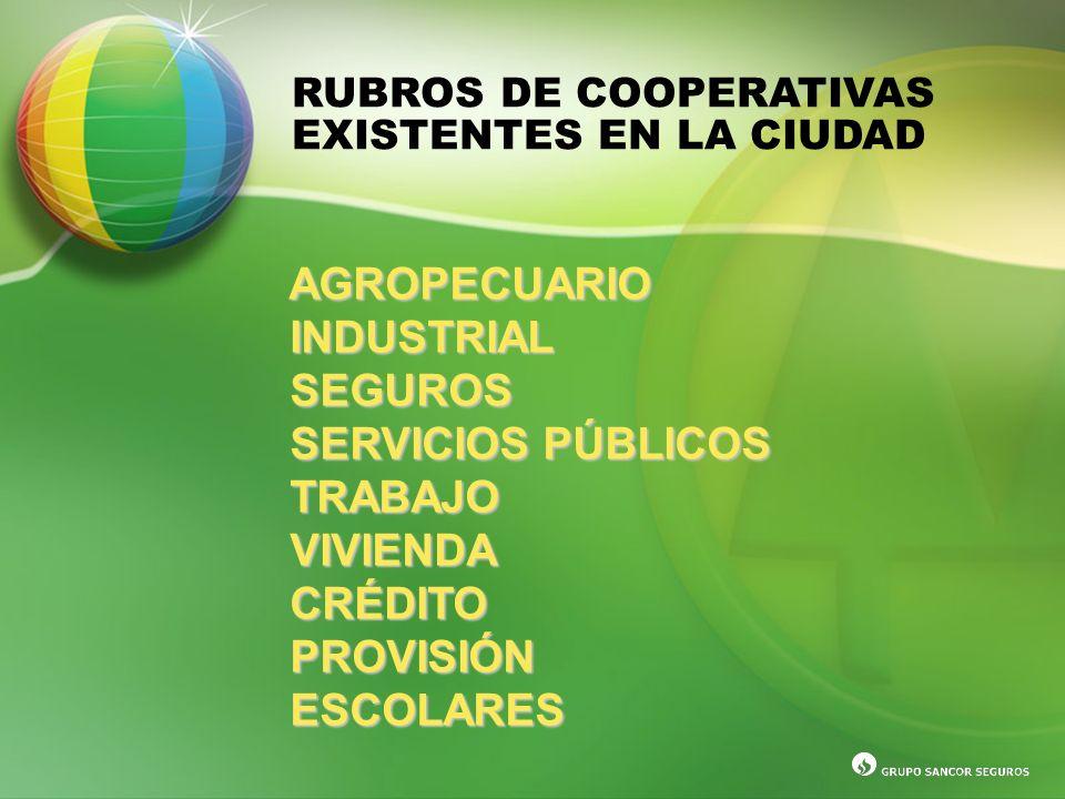 RUBROS DE COOPERATIVAS EXISTENTES EN LA CIUDAD AGROPECUARIO INDUSTRIAL INDUSTRIAL SEGUROS SEGUROS SERVICIOS PÚBLICOS SERVICIOS PÚBLICOS TRABAJO TRABAJ