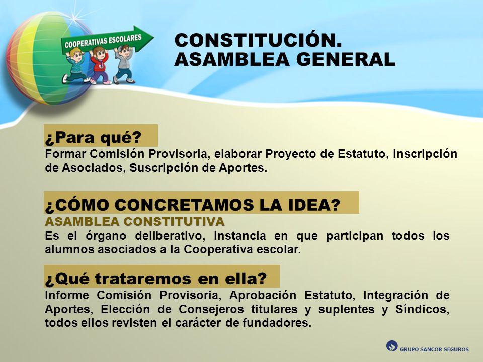 CONSTITUCIÓN. ASAMBLEA GENERAL ¿Para qué? Formar Comisión Provisoria, elaborar Proyecto de Estatuto, Inscripción de Asociados, Suscripción de Aportes.