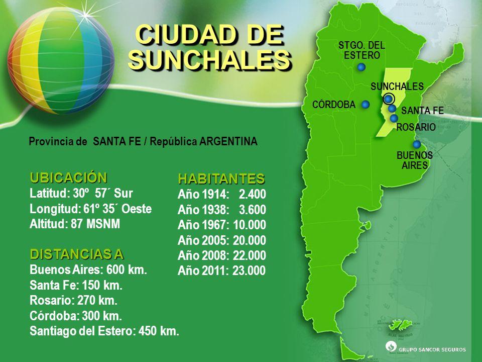 UBICACIÓN Latitud: 30º 57´ Sur Longitud: 61º 35´ Oeste Altitud: 87 MSNM DISTANCIAS A Buenos Aires: 600 km. Santa Fe: 150 km. Rosario: 270 km. Córdoba: