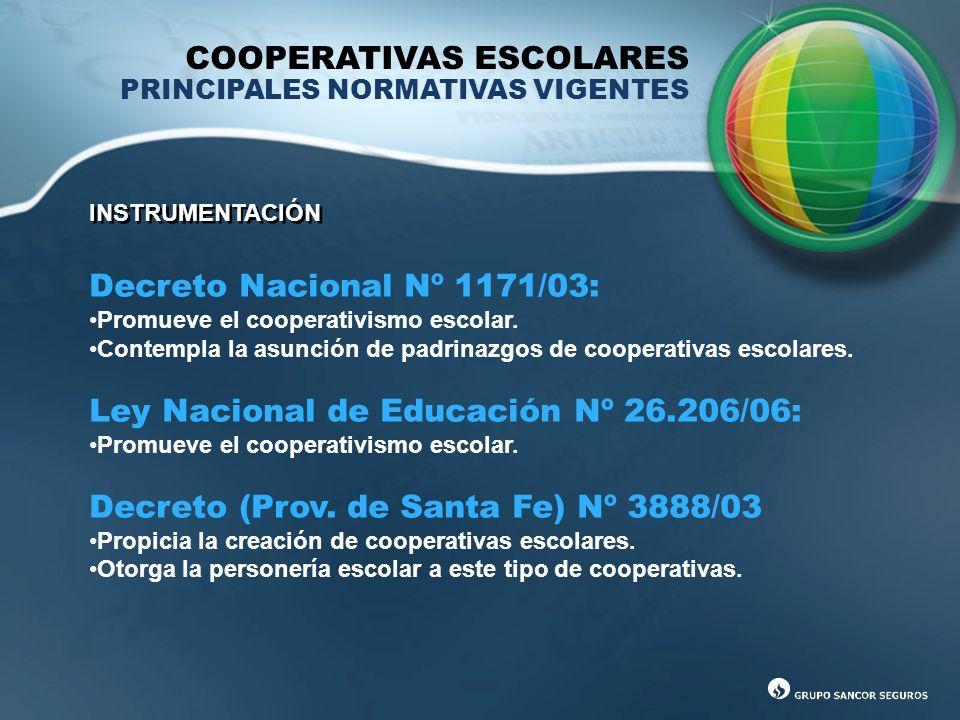 COOPERATIVAS ESCOLARES PRINCIPALES NORMATIVAS VIGENTES INSTRUMENTACIÓN Decreto Nacional Nº 1171/03: Promueve el cooperativismo escolar. Contempla la a