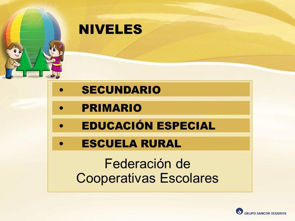 NIVELES Federación de Cooperativas Escolares SECUNDARIO PRIMARIO EDUCACIÓN ESPECIAL ESCUELA RURAL