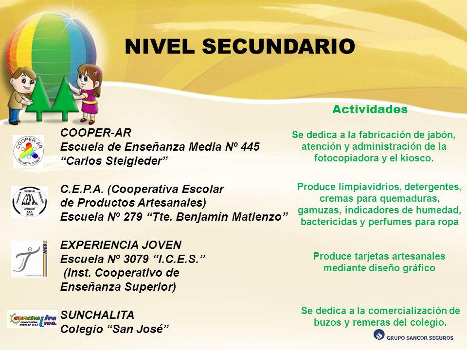 NIVEL SECUNDARIO COOPER-AR Escuela de Enseñanza Media Nº 445 Carlos Steigleder C.E.P.A. (Cooperativa Escolar de Productos Artesanales) Escuela Nº 279