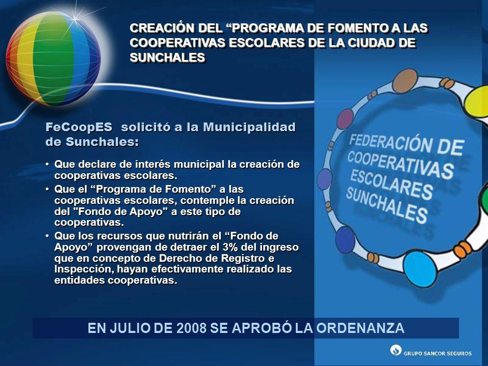FeCoopES solicitó a la Municipalidad de Sunchales: Que declare de interés municipal la creación de cooperativas escolares. Que el Programa de Fomento