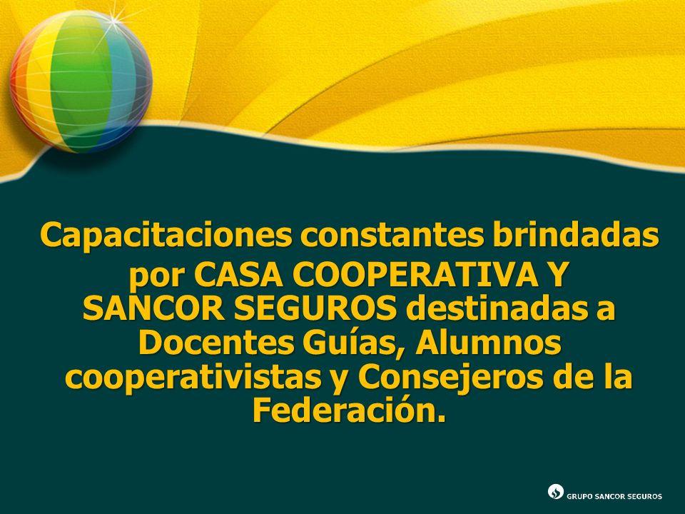 Capacitaciones constantes brindadas por CASA COOPERATIVA Y SANCOR SEGUROS destinadas a Docentes Guías, Alumnos cooperativistas y Consejeros de la Fede