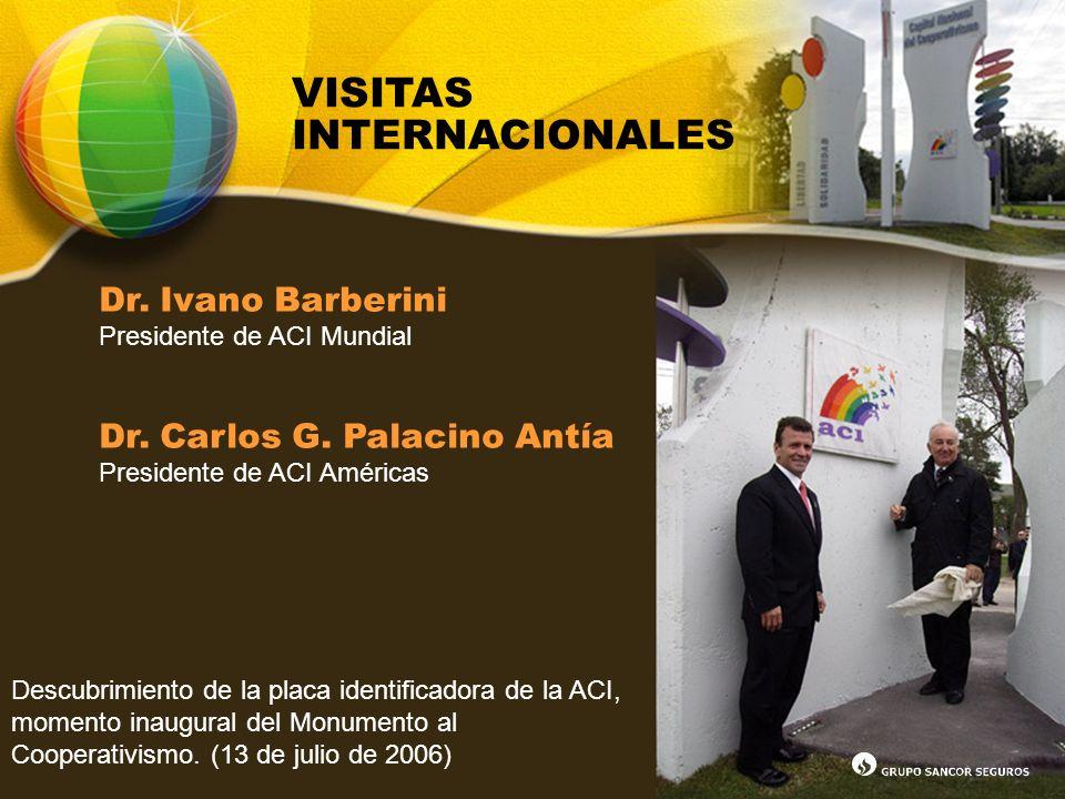 VISITAS INTERNACIONALES Dr. Ivano Barberini Presidente de ACI Mundial Dr. Carlos G. Palacino Antía Presidente de ACI Américas Descubrimiento de la pla