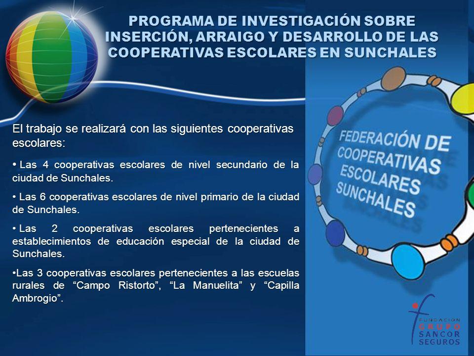 El trabajo se realizará con las siguientes cooperativas escolares: Las 4 cooperativas escolares de nivel secundario de la ciudad de Sunchales. Las 4 c
