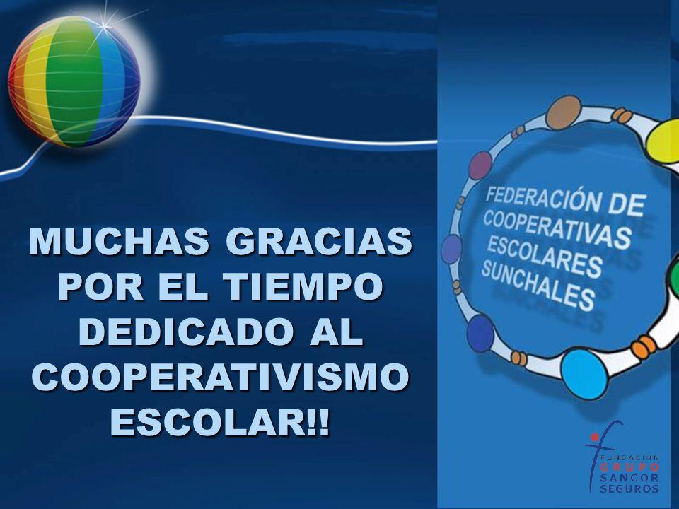 MUCHAS GRACIAS POR EL TIEMPO DEDICADO AL COOPERATIVISMO ESCOLAR!!