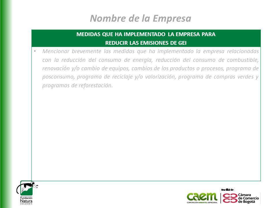 Nombre de la Empresa MEDIDAS QUE HA IMPLEMENTADO LA EMPRESA PARA REDUCIR LAS EMISIONES DE GEI Mencionar brevemente las medidas que ha implementado la
