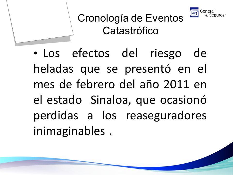 Los efectos del riesgo de heladas que se presentó en el mes de febrero del año 2011 en el estado Sinaloa, que ocasionó perdidas a los reaseguradores inimaginables.