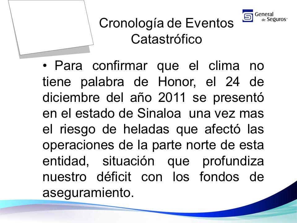 Para confirmar que el clima no tiene palabra de Honor, el 24 de diciembre del año 2011 se presentó en el estado de Sinaloa una vez mas el riesgo de heladas que afectó las operaciones de la parte norte de esta entidad, situación que profundiza nuestro déficit con los fondos de aseguramiento.
