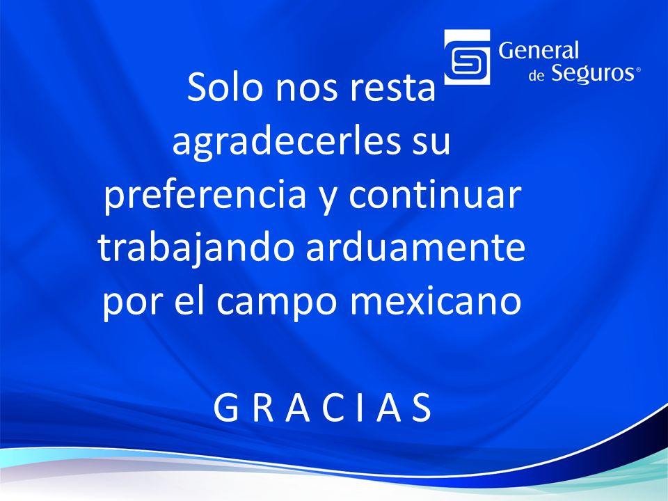 Solo nos resta agradecerles su preferencia y continuar trabajando arduamente por el campo mexicano G R A C I A S