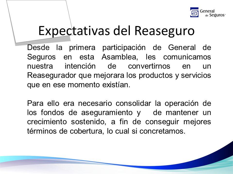 Expectativas del Reaseguro Desde la primera participación de General de Seguros en esta Asamblea, les comunicamos nuestra intención de convertirnos en un Reasegurador que mejorara los productos y servicios que en ese momento existían.