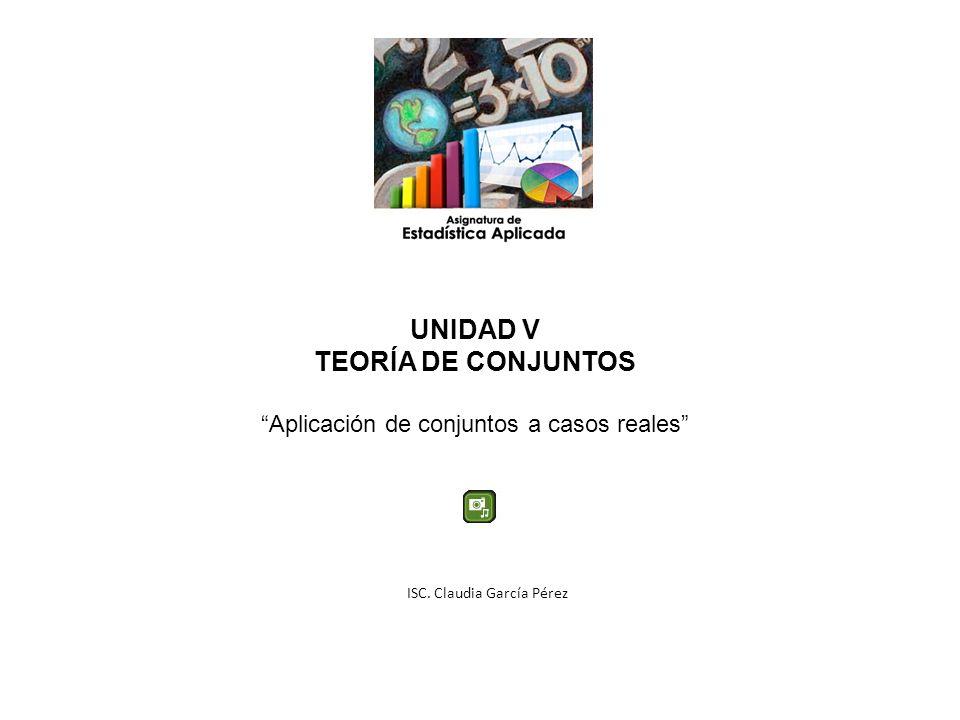 UNIDAD V TEORÍA DE CONJUNTOS Aplicación de conjuntos a casos reales ISC. Claudia García Pérez