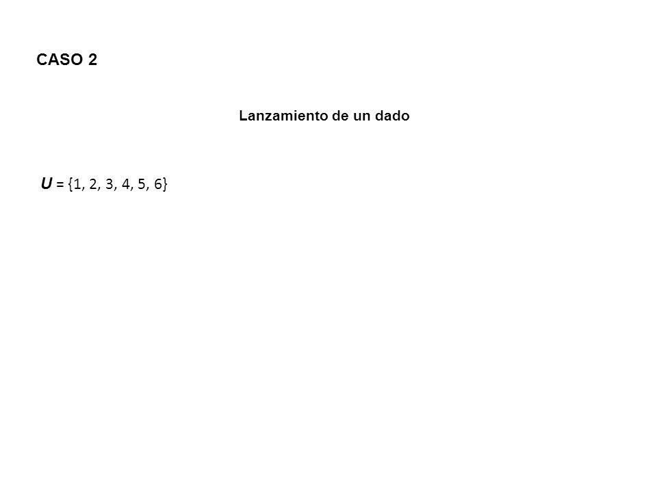 CASO 2 Lanzamiento de un dado U = {1, 2, 3, 4, 5, 6}