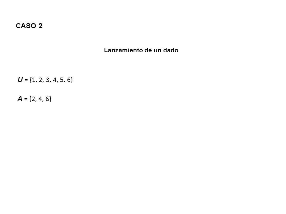 CASO 2 Lanzamiento de un dado U = {1, 2, 3, 4, 5, 6} A = {2, 4, 6}