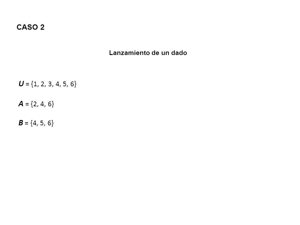 CASO 2 Lanzamiento de un dado U = {1, 2, 3, 4, 5, 6} A = {2, 4, 6} B = {4, 5, 6}