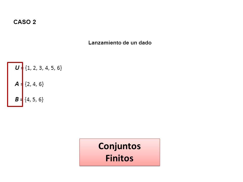 CASO 2 Lanzamiento de un dado U = {1, 2, 3, 4, 5, 6} A = {2, 4, 6} B = {4, 5, 6} Conjuntos Finitos Conjuntos Finitos