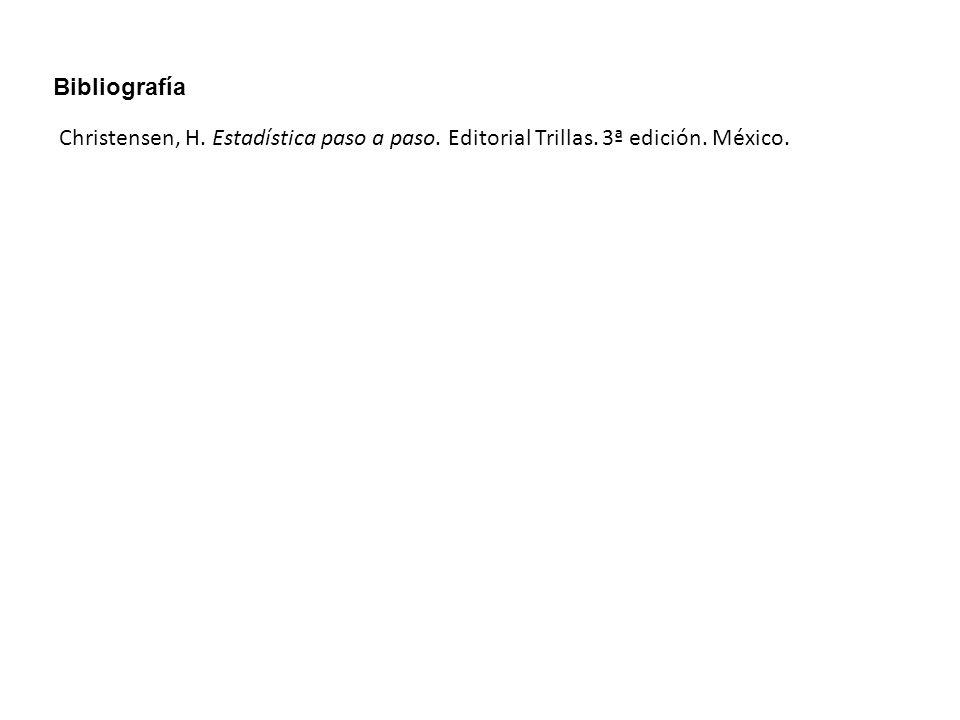 Christensen, H. Estadística paso a paso. Editorial Trillas. 3ª edición. México. Bibliografía