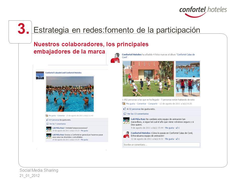 Social Media Sharing 21_01_2012 3. Estrategia en redes:fomento de la participación Nuestros colaboradores, los principales embajadores de la marca