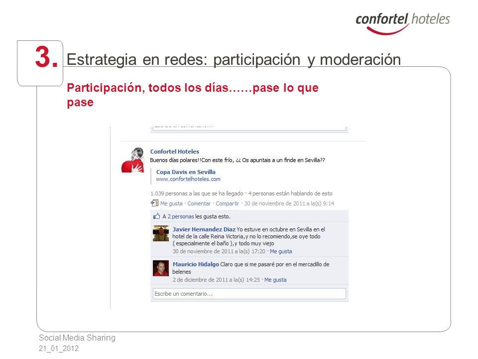 Social Media Sharing 21_01_2012 3. Estrategia en redes: participación y moderación Participación, todos los días……pase lo que pase