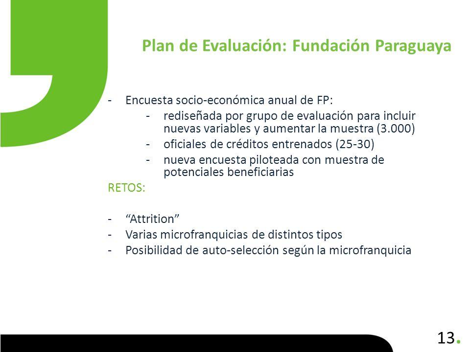 13. -Encuesta socio-económica anual de FP: -rediseñada por grupo de evaluación para incluir nuevas variables y aumentar la muestra (3.000) -oficiales