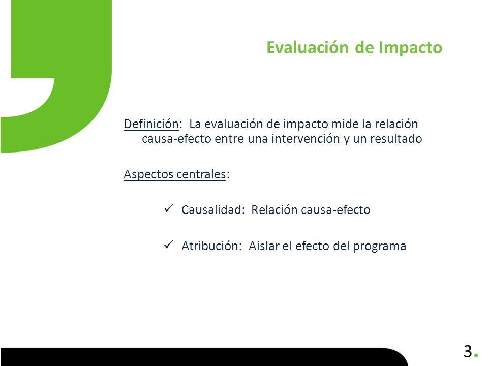 3.3. Definición: La evaluación de impacto mide la relación causa-efecto entre una intervención y un resultado Aspectos centrales: Causalidad: Relación