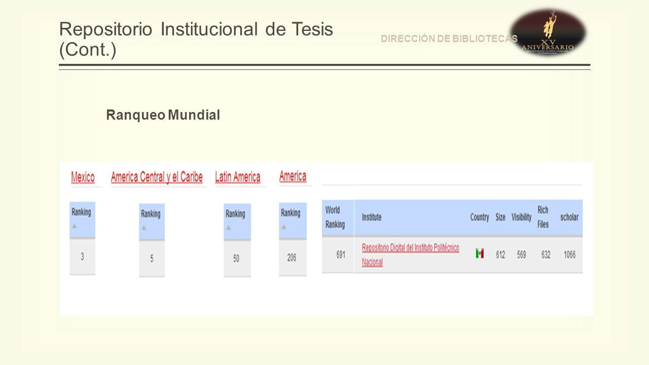 Repositorio Institucional de Tesis (Cont.) DIRECCIÓN DE BIBLIOTECAS Ranqueo Mundial